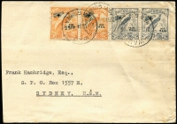 Lot 1165:1934 (Feb 27) large-part cover (reduced at left) to NSW with ½d & 3d Undated Bird Air pairs tied by Powell Type 117 Wau datestamps, on reverse complete 'N.G.C/LTD' (New Guinea Co) wax seal. Ex Belknap.