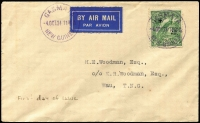 Lot 1166:1934 (Oct 4) Woodman cover with 2½d Undated Bird Air tied by Powell Type 100 Gasmata '4OCT34' datestamp (Rated C) with another datestamp alongside & on reverse, stated to be FDI for this stamp at Gasmata.