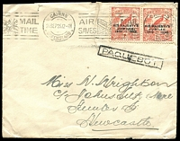 Lot 740:1935 (Sep) cover to Newcastle (NSW) with 2d Jubilee overprints pair tied by Cairns '26SEP35' machine cancel, boxed Paquebot cancel beneath (similar to Lee Type S5), repaired tear.