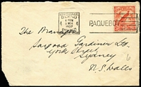 Lot 742:1937 (Mar 9) Bank of NSW (Rabaul) commercal cover with 2d Undated Bird tied by Brisbane machine Paquebot cancel, cover opened on three sides, corner defect.
