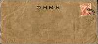 Lot 743:1937 (Aug 18) OHMS long cover to NSW with 2d Undated Bird tied by Powell Type 68 Kieta datestamp.