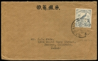 Lot 744:1937 (Oct 19) OHMS cover to USA with 3d Undated Bird optd 'OS' tied by Powell Type 59 Rabaul '19OC37' datestamp. Overprinted 'OS' stamps correctly used on cover are very scarce.