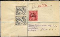 Lot 751 [1 of 3]:1939-40 Covers used from Kavieng comprising [1] 1939 (Jan 18) registered to UK with NWPI 1d red KGV & 3d Undated Birds pair tied by weak Kavieng datestamp, registration handstamp; [2] 1939 local cover with ½d Dated Bird Air plus 9d & 1/- Huts Airs tied by weak Kavieng datestamp; [3] 4d Undated Birds block of 4 with central Kavieng '26AP40' cancel on local cover; some minor toning. (3)