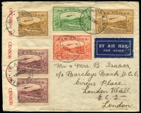 Lot 1342 [1 of 2]:1939 (Nov 9) airmail cover to London with Bulolo 6d x2, 2d, 1½d pair & 1d tied by very fine strikes of 'LAE/9NO39/NEW GUINEA' datestamps, red/white censor tape, Salamaua & Townsville (Qld) transit backstamps. Lovely commercial correspondence item in fine condition.