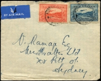 Lot 749:1939 commercial airmail cover to Sydney with 2d & 3d Bulolo Air tied by Powell Type 87 Manus datestamps. (Rated D) rare on commercial cover.
