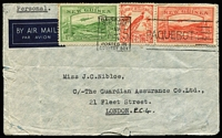 Lot 750:1939 (May) commercial airmail cover to London with 2d Undated Bird and 1d & 2d Bulolo Airs tied by Brisbane Paquebot machine cancel, edge blemishes.