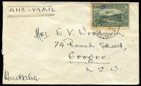 Lot 752 [2 of 2]:1940 Bulolo Frankings with (Jun 24) surface to Queensland with 2d tied by Rabaul '24JE40' datestamp & (Aug 17) airmail to NSW with 5d, fine Salamaua backstamp.