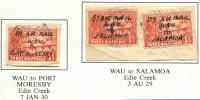 "Lot 1095 [2 of 3]:New Guinea: 1½d Huts issues used in 1929-30 at Edie Creek or Port Moresby with unauthorised manuscript ""BY AIR MAIL"" endorsements by postmaster George Hammond comprising ""WAU/TO/PORT MORESBY"" on separate pieces, ""WAU/TO/SALAMOA"" on 1½d x2 on piece & ""SALAMOA/TO/WAU"" on a pair. Unusual. (4 items)"