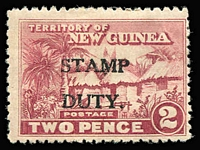 Lot 1341 [2 of 3]:Stamp Duty: 1925-27 Huts optd 'STAMP/DUTY' comprising 1d green Narrow setting (1mm between words), not illustrated/listed by Elsmore & 2d Wide setting (4mm between words), both MLH; also 1930 Wmk Multiple Crown/A, 1d scarlet & pink-red MLH. (3)