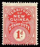 Lot 1341 [3 of 3]:Stamp Duty: 1925-27 Huts optd 'STAMP/DUTY' comprising 1d green Narrow setting (1mm between words), not illustrated/listed by Elsmore & 2d Wide setting (4mm between words), both MLH; also 1930 Wmk Multiple Crown/A, 1d scarlet & pink-red MLH. (3)