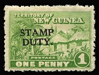 Lot 1341 [1 of 3]:Stamp Duty: 1925-27 Huts optd 'STAMP/DUTY' comprising 1d green Narrow setting (1mm between words), not illustrated/listed by Elsmore & 2d Wide setting (4mm between words), both MLH; also 1930 Wmk Multiple Crown/A, 1d scarlet & pink-red MLH. (3)