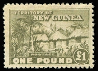 Lot 1052 [1 of 3]:1925-27 Huts ½d to £1 set SG #125-36, plus extras including shades, ½d corner block of 16 with part imprints, ½d, 1½d x2, 2d & 3d marginal blocks with part imprints and 2d & 9d marginal pairs, several values including 5/- & £1 without gum, mostly fine MLH/MVLH or MUH, Cat £550+. (59)