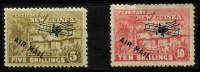Lot 1396 [2 of 4]:1931 Huts Airs ½d to £1 set SG #137-49, several values including 9d in marginal pairs, plus a few shades, 10/- disturbed gum, key £1 is MUH. Cat £250+. (21)