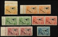 Lot 1396 [3 of 4]:1931 Huts Airs ½d to £1 set SG #137-49, several values including 9d in marginal pairs, plus a few shades, 10/- disturbed gum, key £1 is MUH. Cat £250+. (21)