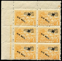 Lot 1401:1931 Huts Airs ½d orange corner block of 6, Position 1 unusually without overprint variety Short 'I' in 'MAIL' and scarce thus, fresh MUH.