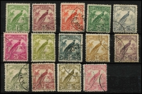 Lot 1056 [2 of 2]:1932 Undated Birds 1d to £1 set SG #177-189, fine used, Cat £300. (15)