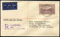 Lot 1057 [3 of 6]:1939 Bulolo Air ½d to 2/- (plus extra 1d & 1½d) on eight covers (four are registered) all with Powell Type 45 Kavieng '13MAR39' FDI (for Kavieng) datestamps. Stamps alone Cat £170. (8)