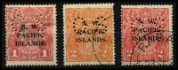 Lot 242 [2 of 2]:Perf 'OS' Selection: comprising KGV Smooth paper 1d red SG #O3 (pen cancel), 2d orange & 2d rose-scarlet #O18-19 plus 1/- Roo # Die II #O11 (couple trivial thins), used. Cat £298. (4)