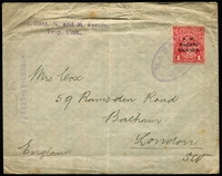 Lot 1033:1915 (Jul 19) cover to London with overprinted (Break in 'W') KGV 1d red tied by Powell Type 53 Rabaul oval datestamp in violet, largely fine strike of '3rd Batt N and M Forces,/Trop Unit.'  & 'PASSED-BY-CENSOR' handstamps both in violet, vertical fold (clear of stamp) & some soiling. [This cover is from George Cox who arrived in Rabaul in January 1915 and worked in Garrison HQ, to his wife Jane. George remained in Rabaul until 1918, when he settled in Queensland]