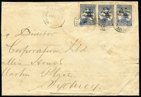 Lot 1032:1915 large-part triple-rate cover to Sydney (reduced at left) with overprinted 2½d Roos strip of 3 (Transfer error 'bcc'), each stamp cancelled with Powell Type 65 'Station Kieta' straight-line handstamp Rated F, all overstruck with 'TULAGI/28MAR15/BRITISH SOLOMON IDS' datestamps with another strike alongside, Sydney 'AP6/1915' machine cancel backstamp, minor staining.