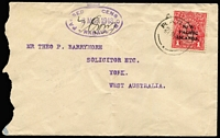 Lot 1037:1918 (Mar 21) commercial cover to solicitor in York (WA) with KGV 1d tied by Rabaul datestamp, largely fine strike of '[crown]/PASSED CENSOR/2MAR1918/RABAUL' (date slug error ?) oval datestamp in violet, unusually signed by censor, roughly opened/slightly reduced at left, otherwise fine.