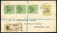 Lot 1041 [1 of 2]:1919 (Oct 23) L'Estrange Ewen registered cover to London with ½d KGV SG #65 abc strip & 3d Roo SG #96 tied by Rabaul datestamps, early use of black registration label, Sydney, London & Norwood backstamps, fine condition.