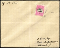 "Lot 1432:1920 (Jun 21) registered cover to Switzerland with 10/- Roo SG #117 (rounded corner) tied by Powell Type 28 Eitape datestamp in violet, mss ""Reg No 194"" marking, Sydney & Basel backstamps. Most attractive. Peter Holcombe opinion (1987)."