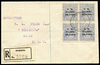 Lot 1434:1922 (Oct 16) registered cover to prominent collector HL White at Scone (NSW) with 4d ultramarine KGV SG #124 cancelled with Powell Type 56 Rabaul datestamp, black registration label, on reverse rare ''THE TREASURY/16 OCT Rec'd/RABAUL' oval datestamp in violet, plus Rabaul & Sydney transit backstamps. Superb condition, Gibbons on-cover Cat £900.