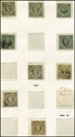 Lot 368 [2 of 4]:1854-72 Diadems Array on album pages with 1854-59 imperf Large Diadems 6d x23 including a pair, 1856-60 imperf Small Diadems 1d x17 including vertical strip of 3 & two pairs, 2d & 3d x2, 1860-72 perforated Diadems to 1/- x4 including P13 8d red-orange, 8d bright yellow plus 5d optd 'SPECIMEN'; mixed condition, some postmark interest. (90)