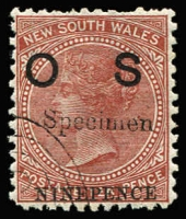 Lot 764:1879-85: 9d on 10d brown optd 'OS' with 'Specimen' overprint, 'G.P.O.' concentric ovals CTO corner cancel, few nibbed perfs, large-part gum. [Only 50 sets issued.]