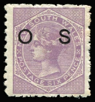 Lot 762 [1 of 2]:1879-85 Optd 'OS': 1d (thinned) to 1/- mint selection, including 9d on 10d additionally optd 'Specimen' in blue (pulled perfs) SG #O11s, some perf blemishes, generally fine, £190 (as cheapest perfs). (9)