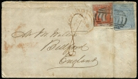 Lot 724 [1 of 2]:1853 (June 13) cover to England with Laureates Blued paper 1d brick-red (cut-into at top) with variety 'WALE' for 'WALES' [R1/9] SG #48c and Worn plate 2d ultramarine, tied by BN '1', fine Ship Letter/Sydney departure and London '10OC10/1853' arrival backstamps. Variety is rare on cover.