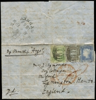 "Lot 768:1853 (Aug 8) entire to England endorsed ""By Steam Ship Argo"" with 3d & 6d Laureates (plus a pen cancelled 2d which does not belong) cancelled by Sydney bars cancels, the 3d additionally tied by weak strike of Lymington arrival datestamp in red, fine strike of Sydney Ship Letter datetamp on reverse. Presents well."