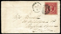 Lot 771:1866 (Jan 13) petite cover to London with 1/- Large Diadem P13 tied by Sydney duplex, London arrival backstamp, flap tears.