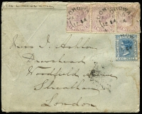 "Lot 772:1884 (Aug 16) late Riverina cover from Corowa to London ""per Orient Line"" with Victoria 2d x3 & NSW 2d tied by 'COROWA/AU16/1884' datestamps, Melbourne & London backstamps, repair tape at left & some staining."