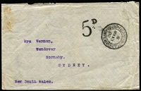 "Lot 982:1900 Boer War NSW Contingent (Mar 13) stampless cover to Sydney with very fine strike of FPO/British Army datestamp, taxed '5D' presumably due to lack of Unit endorsement or the usual ""No stamps available"" marking, Sydney & Hornsby backstamps."