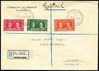 Lot 494 [1 of 6]:1935-41 Covers Selection with 1935 Silver Jubilee set on French Consulate registered cover tied Auckland FDI cancels, 1935 Pictorials ½d, 1d, 1½d and ½d, 2d & 6d and four illustrated FDCs, 1935 6d Pictorial plus 1/3d Arms on airmail cover to France, 1936 4d Mitre Peak on registered surface cover to USA, also 1940 Centennial issues mostly on souvenir covers or FDCs; condition variable, mostly fine. (16 items)
