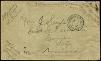 "Lot 1625 [1 of 2]:1901 Boer War NZ Contingent (Feb 24) cover to NZ from S.Gardiner of the 4th NZ Regiment (Rhodesian Field Force), endorsed ""Neither stamps nor money available"" with superb strike of 'FIELD POST OFFICE/26/FE24/01/BRITISH ARMY S.AFRICA' (Krugersdorp Depot) datestamp, signed by censor at lower left, arrival backstamps. Rare."