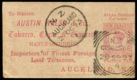 Lot 1469:1892 ½d Pink for user Austin Walsh cancelled with very fine Gisborne '28SP93' squared-circle datestamp, Auckland arrival datestamp alongside. Lovely example of the world's smallest postal card.
