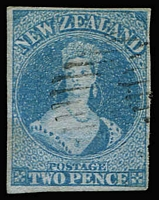 Lot 1454:1855-58 Imperf Chalons Blue Paper No Wmk 2d blue SG #5, two central thin patches, complete margins, neatly cancelled, Cat £300.