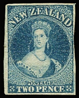Lot 1456:1862-64 Imperf Chalon Wmk Large Star 2d blue SG #39, mild corner bend close to large (at left) margins, fine unused with strong colour, Cat £700.