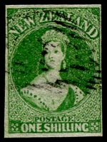Lot 1457:1862-64 Imperf Chalon Wmk Large Star 1/- green SG #44, close to very good margins, tidily cancelled, Cat £325.