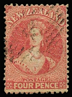 Lot 1460:1864-71 Chalons Wmk Large Star P12½ 4d deep rose SG #119, fine example with tidy cancel, Cat £250.