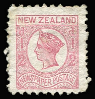 Lot 1461:1873 Newspaper Stamp ½d pale dull rose P10x12½ with portion of watermark showing SG #145a, some rough perfs, unused, Cat £350.