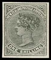 Lot 1676:1882-1900 Second Sidefaces 1/- official reprint in black, imperforate on unwatermarked paper.