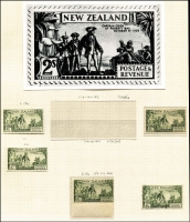 Lot 1612 [2 of 5]:1935-36 Pictorials mint & used ½d to 3/- semi-specialised array on album pages identified by CP reference with better mint including 1d part booklet pane of 4 (with adverts) Watermark inverted CP #L2c(Z), 2½d Wet Printing marginal block of 4 #L5b (lower unit MUH), 2/- P13-14x13½ CAPTAIN COQK variety in marginal pair (stamps MUH) #L13a(W); other changes of perf & shades mint and/or used plus magnified photographic illustrations of each issue. (94 + 13 photos)