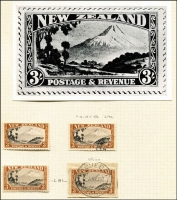 Lot 1612 [3 of 5]:1935-36 Pictorials mint & used ½d to 3/- semi-specialised array on album pages identified by CP reference with better mint including 1d part booklet pane of 4 (with adverts) Watermark inverted CP #L2c(Z), 2½d Wet Printing marginal block of 4 #L5b (lower unit MUH), 2/- P13-14x13½ CAPTAIN COQK variety in marginal pair (stamps MUH) #L13a(W); other changes of perf & shades mint and/or used plus magnified photographic illustrations of each issue. (94 + 13 photos)