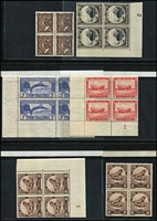 Lot 1613 [3 of 4]:1938-42 Pictorials ½d to 2/- x2 and 3/- in blocks of 4, some marginal plate blocks including 2½d Plate 3 (inverted) & Plate 4, 4d Plate 2, 5d P13¾x13½ Plate 2, 8d P14 Plate 3, 1/- Plate 14x13½ Plate A1, etc; generally fine with most lower units MUH. (19 blocks)