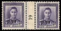 Lot 1614:1941-52 KGVI Definitives Complete sets of numbered 1 to 19 counter-coil pairs comprising 1d green (in purple) CP #MC1b, 2d orange (in purple) #MC1e, 3d blue (in black) #MC2d, 4d bright purple (in black) #MC2e, 6d carmine (in black) #MC2h & 8d violet (in black) #MC2j; fine mint with 2d, 4d & 6d values MUH, Cat NZ$1,600+. (220+)