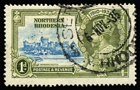 Lot 1636:1935 Silver Jubilee 1d light blue & olive-green variety Dot by flagstaff SG #18h, fine used, Cat £300. Very rare used.